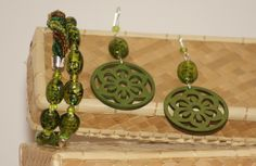 Wooden collection part 3:green version with murrine - silver parure