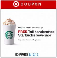 Starbucks Free Drink At Target - Awesome Freebie Coupon - http://couponsdowork.com/freebies-giveaways/starbucks-free-drink-target/