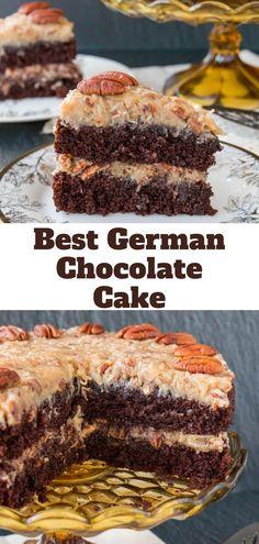 Delicious Cake Recipes, Easy Cake Recipes, Yummy Cakes, Easy Desserts, Sweet Recipes, Baking Recipes, Yummy Food, Layer Cake Recipes, Homemade German Chocolate Cake