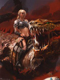 Queen of Dragons: by, Demon Vamp Goth Fantasy Warrior, Fantasy Girl, Chica Fantasy, Fantasy Dragon, Fantasy Women, Fantasy Rpg, Dragon Art, Dark Fantasy, Fantasy Artwork