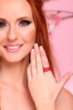 Red Cursive Wording Love Ring Eyebrow Jewelry, Love Ring, Cursive, Eyebrows, Diamond, Rings, Red, Eye Brows, Eyebrow