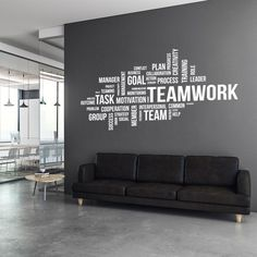 Decorate your office space with this teamwork motivational wall decal. The decal is suitable for any flat surface like walls, glass, furniture etc. It is perfect to add a touch of colour on those blank walls in the waiting room, office, conference and mee Office Wall Design, Cool Office Space, Office Interior Design, Office Interiors, Office Wall Colors, Small Office Design, Office Wall Graphics, Office Wall Decals, Office Walls