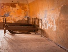 Old beds in the Terezin Concentration camp. As prisoners slept in makeshift bunks this was likely the infirmary.