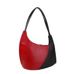 Scoop red ostrich print with black