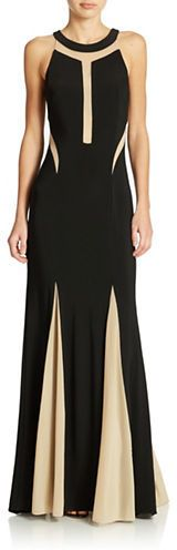 Xscape Illusion Panel Pleated Halter Gown