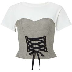 Miss Selfridge White Contrast Corset T-Shirt ($40) ❤ liked on Polyvore featuring tops, t-shirts, grey, short sleeve crew neck t shirt, lace up crop top, fitted t shirts, crop t shirt and white corset