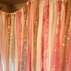 Rose Gold Sequin with Party Pop'n Pink & Ivory Backdrop Garland -  Bling Sparkle -  Baby Shower, Nursery - 4ft x 6ft on Etsy, $99.00
