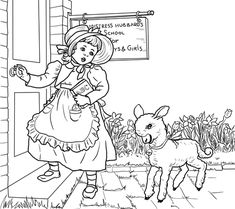 Mary Had A Little Lamb Nursery Rhyme Coloring Page From Mother Goose Rhymes Category