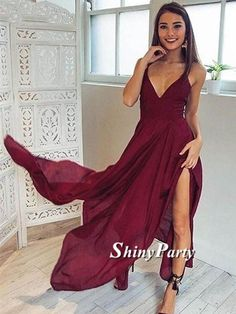 A Line V Neck Backless Long Maroon/Burgundy Prom Dresses, Backless Formal Dresses, Backless Maroon/Burgundy Bridesmaid Dresses #shinyparty #prom #dress #formal #fashion #dresses #burgundy #maroon #eveningdress #prom2017 #style #backless #sexy #love