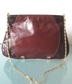 Vintage Oxblood Snakeskin & Leather Shoulder Bag by TheOldBagOnline on Etsy