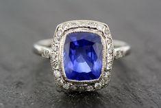 Art Deco Sapphire Ring  Antique  Sapphire & por AlistirWoodTait, £5500.00