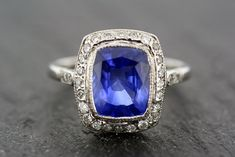 Antique Art Deco Ring - Vintage Sapphire & Diamond Art Deco Ring