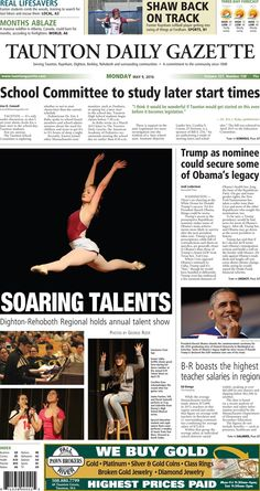 The front page of the Taunton Daily Gazette for Monday, May 9, 2016.