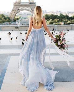 Something Blue: 24 Blue Wedding Dresses For your Happy Wedding ❤ blue wedding dresses a line ombre backless beach leannemarshall #weddingforward #wedding #bride Baby Blue Wedding Dresses, Baby Blue Weddings, White Bridal Dresses, Wedding Blue, Leanne Marshall, Romantic Wedding Inspiration, Paris Wedding, Backless, Palais Royal