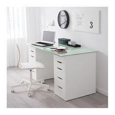 IKEA ALEX/GLASHOLM Table The Table Top In Tempered Glass Is Stain Resistant  And Easy