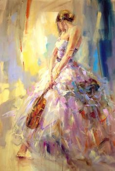 "Flirting with a Violin by Anna Razumovskaya.   See my board ""ART-Anna Razumovskaya"" for more of her incredible work."