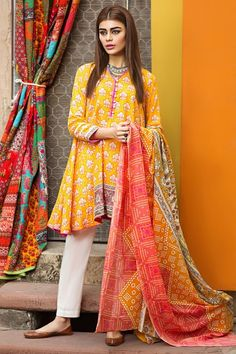 Libasco | Khaadi 2 Piece Stitched Printed Lawn Suit - L17104 - Yellow | Buy Pakistani dresses online. Salwar Kameez & salwar suit by Pakistani designers. Stitched original designer dresses from Pakistan.