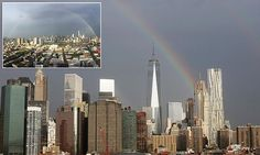 Rainbow emerges from the World Trade Center on the eve of 9/11 attacks.  September 11, 2015.