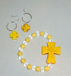 Yellow Cross Jewelry Set by SouthernCharmDe on Etsy