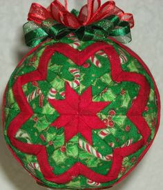 Handmade Quilted Folded Star Ball Ornament Christmas | eBay Quilted Christmas Ornaments, Fabric Ornaments, Ball Ornaments, Christmas Crafts, Christmas Decorations, Holiday Decor, Fabric Balls, Star Ornament, Candy Cane