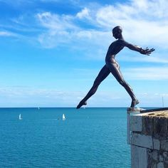 Sculpture of naked man balanced as he steps off into void over water by French sculptor Nicolas Lavarenne Antibes, Art Public, Outdoor Sculpture, Contemporary Sculpture, Art Abstrait, Bronze Sculpture, Types Of Art, Oeuvre D'art, Urban Art