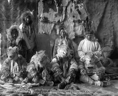 Inuit Wolf Dance    Image No: ND-1-180    Title: Group of Inuit dancers in…