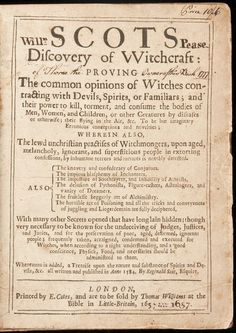 Scots Discovery of Witchcraft 1654 Edition