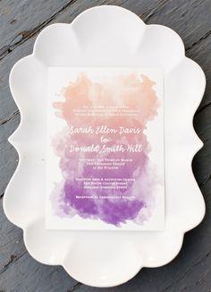 ombre watercolor wedding invitations