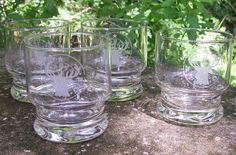 30.00 BPOE Elks Etched Glass Tumbler Set of 4 Rocks/Old Fashioned