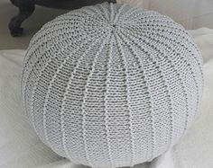 Large light grey floorpouf | knitted pouf | knit pouf | knitted ottoman | footstool | knitted pouffe | floor ottoman | crochet pouffe