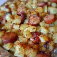 Recipe: Oven Roasted Smoked Sausage and Potatoes  http://what2cook.net/2014/01/08/oven-roasted-smoked-sausage-and-potatoes/