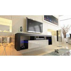 Orren Ellis Floating Milano Böttcher Wall Mounted Floating TV Stand for TVs up to Color: Black/White Living Room Storage, Storage Spaces, Living Room Modern, Small Living, Open Shelving, Adjustable Shelving, Furniture Deals, Home Furniture, Tv Stand Price