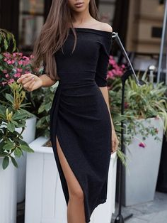 Off Shoulder Ruched Thigh Split Party Dress - Off Shoulder Ruched Thigh Split Bodycon Dress Source by - Trendy Dresses, Tight Dresses, Sexy Dresses, Beautiful Dresses, Dress Outfits, Nice Dresses, Evening Dresses, Fashion Dresses, Casual Skirts