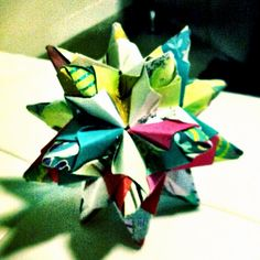 Three Colored Modular Origami Star Ball 8 Inches Height And Width