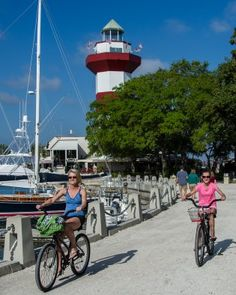 Recreational Biking Paths in Harbour Town on Hilton Head Island, South Carolina Vacation Destinations, Vacation Spots, Vacation Ideas, Spring Vacation, The Places Youll Go, Places To Go, Harbor Town, East Coast Road Trip, Hilton Head Island