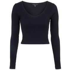 Petite Topshop Long Sleeve Crop Top (€19) ❤ liked on Polyvore featuring tops, v-neck tops, blue top, long sleeve v neck top, petite tops and crop top