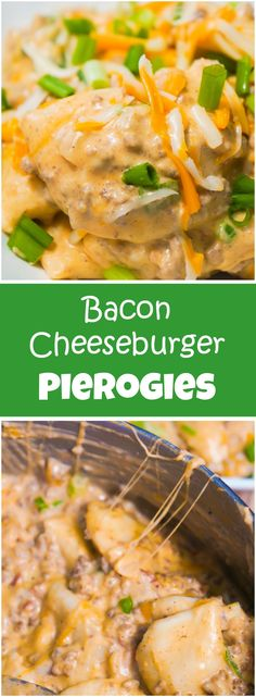 Bacon Cheeseburger Pierogies are the perfect comfort food. Delicious pockets of mashed potatoes are tossed in a creamy cheese sauce loaded with ground beef and bacon in this easy dinner recipe.