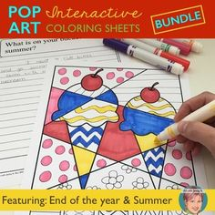 "My original and unique interactive ""pop art"" coloring sheets are a teacher and student favorite! This popular (highly discounted) set features coloring sheets for the End of Year activities in addition to designs for Summer, Back to School, Halloween, Christmas, Valentine's Day, St."