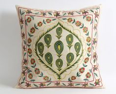 Suzani Pillows Hand Embroidery Vintage Silk Suzani Pillow Cover - Decorative Pillows For Couch
