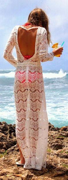 White lace maxi dress Beachwear ~ Beach Style 2014 - Style Estate -