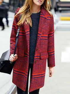 Lapel Striped Striped Long Red Coat