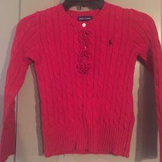 Girls Ralph Lauren Red sweater Red sweater with ruffles. Ralph Lauren Sweaters