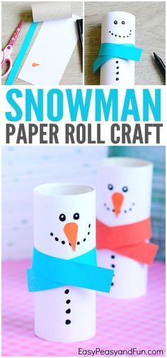Cute Kids Crafts Winter - Paper Roll Snowman Craft Winter Crafts for Kids Christmas Activities For Kids, Winter Crafts For Kids, Craft Activities, Preschool Crafts, Diy For Kids, Fun Crafts, Christmas Decorations For Kids, Snowman Crafts For Preschoolers, Snow Crafts