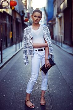 white jeans with tweed blazer