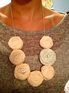 rosette necklace, fabric flower necklace, rosette bib necklace, statement necklace, fall jewelry, fall, women's necklace, flower necklace. $23.00, via Etsy.
