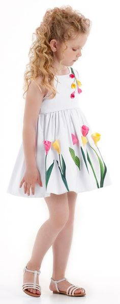 A lovely comfortable white cotton cloth dress for little girls by Kate Mack & Biscotti, decorated with gorgeous fluted flower appliqué in pink and yellow. It is high waisted and has a gathered waist adding a pretty flare. Frocks For Girls, Kids Frocks, Baby Girl Fashion, Kids Fashion, Toddler Girl Dresses, Little Girl Dresses, Sewing For Kids, Kids Wear, Baby Dress