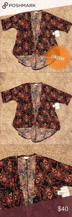 Lularoe Lindsay Kimono - Paisley Pink and orange paisley print on black background. Slinky material. LuLaRoe Sweaters Cardigans