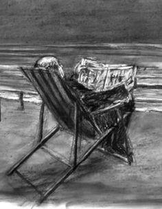 Drawing from Tide Table (Soho in Deck Chair), 2003. Neste trabalho, o artista representa um homem vestido de fato e gravata numa cadeira de praia e na praia, a ler um jornal, onde o homem representado ignora completamente a vista do mar à sua frente. O artista utilizou técnicas de carvão e grafite.