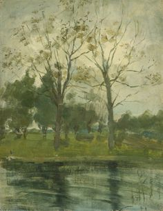 Piet Mondrian - Two trees silhouetted behind a water course, 1902. Oil on canvas laid down on board