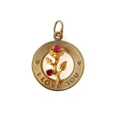 14k Gold I Love You Charm Applied Ruby Set Roses #vbantiquejewelry